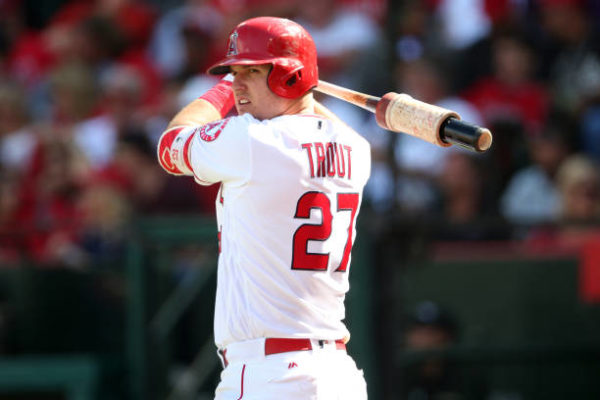 aed693a7b ANAHEIM, CA – SEPTEMBER 21: Mike Trout #27 of the Los Angeles Angels of  Anaheim looks on during the game against the Cleveland Indians at Angel  Stadium on ...