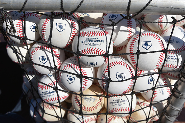 f74267c5d ... FL – FEBRUARY 25  A detailed view of a group of official Rawlings  Spring Training baseballs prior to the Spring Training game between the Detroit  Tigers ...