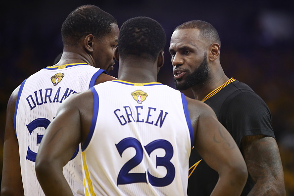 Kevin Durant, Draymond Green, and LeBron James
