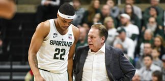 Miles Bridges and Tom Izzo