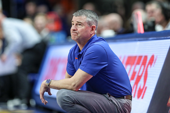 Boise State Head Coach Leon Rice looks over the court as his team prepares for the Mountain West Tournament.
