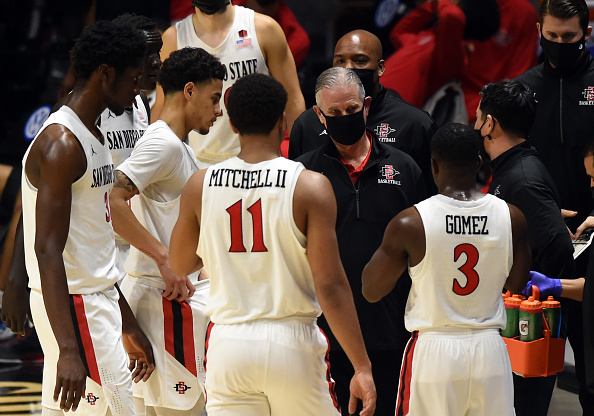 San Diego State cut down the nets after defeating Utah State in the 2021 Mountain West Championship