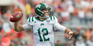 Nathan Rourke at Ohio before the 2020 CFL Drafy