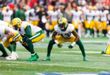 Vontae Diggs of the Edmonton Eskimos