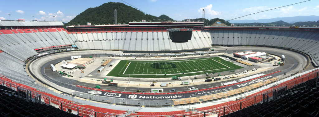 The football field for the upcoming Battle at Bristol down but work is continuing on and around the field. (Photo: David Crigger/Bristol Herald Courier).