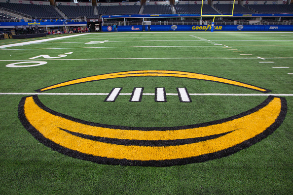 December 29, 2015: Playoff Logo on the AT&T field during the NCAA Football Playoff Semifinal Cotton Bowl media day at ATT Stadium in Arlington, Texas. (Photo by William Purnell/Icon Sportswire) (Photo by William Purnell/Icon Sportswire/Corbis via Getty Images)