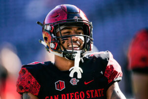 SAN DIEGO, CA - NOVEMBER 05: Donnel Pumphrey #19 of the San Diego State Aztecs runs through pregame warm-up drills prior to the game against the Hawaii Rainbows in Qualcomm Stadium on November 5, 2016 in San Diego, California. (Photo by Kent Horner/Getty Images)