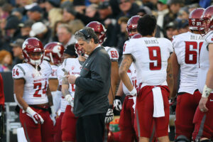 BOULDER, CO - NOVEMBER 19:  Head Coach Mike Leach of the Washington State Cougars looks over plays on the sideline during the third quarter against the Colorado Buffaloes at Folsom Field on November 19, 2016 in Boulder, Colorado. Colorado defeated Washington State 38-24. (Photo by Justin Edmonds/Getty Images)