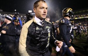 KALAMAZOO, MI - NOVEMBER 25: Head coach P.J. Fleck of the Western Michigan Broncos celebrates after defeating the Toledo Rockets 55 - 35 at Waldo Stadium on November 25, 2016 in Kalamazoo, Michigan. (Photo by Rey Del Rio/Getty Images)