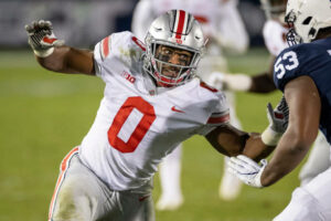 """The """"Block O"""" jersey is a new tradition at Ohio State, which only began last year after the NCAA approved jersey number zero."""
