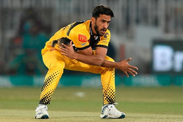 Hasan Ali celebrates taking a wicket for the Peshawar Zalmi