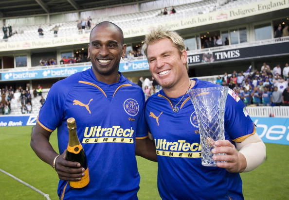 Shane Warne and the Rajasthan Royals celebrate winning the 2008 IPL