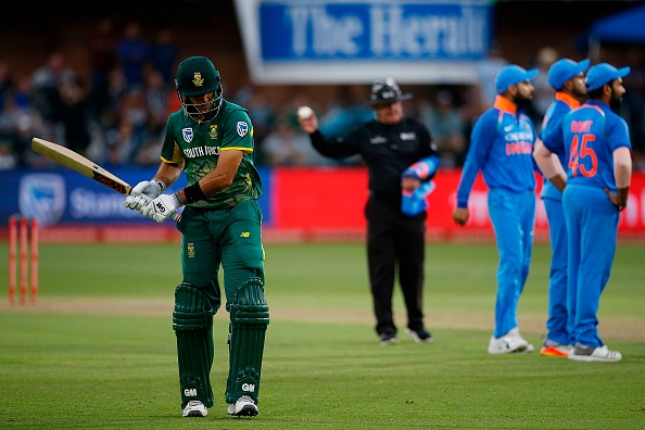 Aiden Markram leaves the field after being dismissed againt India in 2018