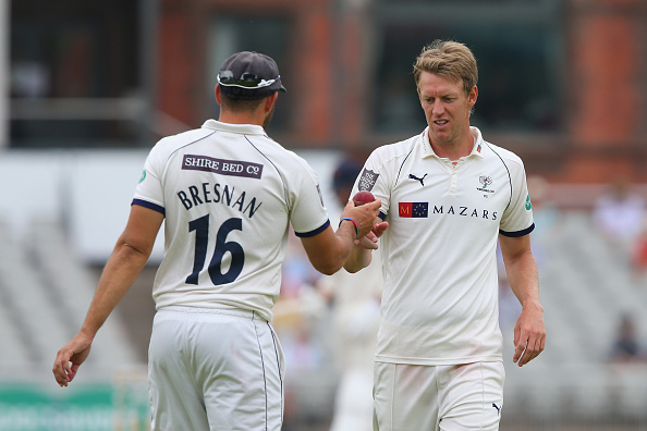 Tim Bresnan bowling for Yorkshire CCC. He has now signed for Warwickshire County CC.