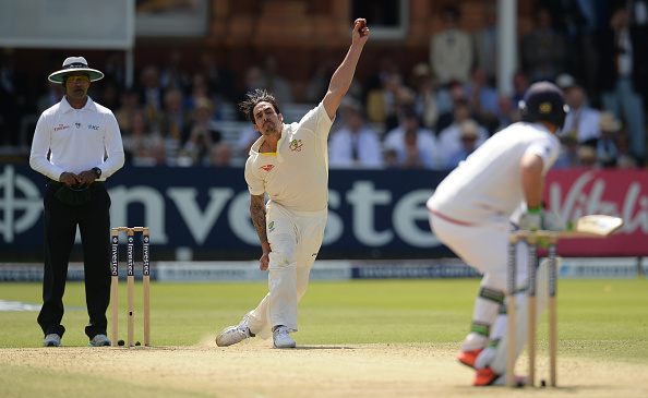 Mitchell Johnson bowls in the 2015 Ashes series