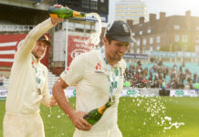 Joe Root and Alastair Cook bathe in champagne. Most runs in test for England as of 2020.
