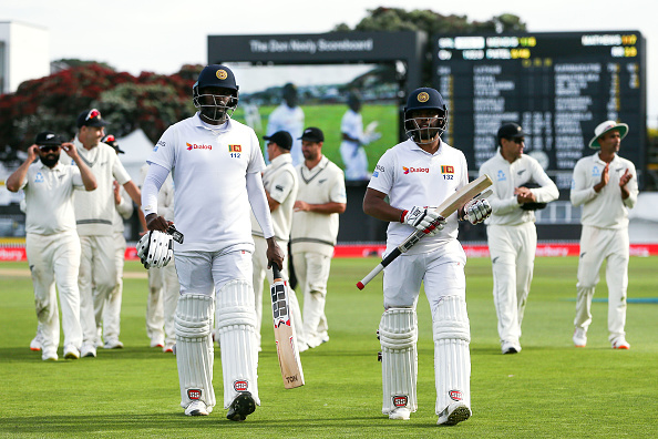 Angelo Mathews bats with Kusal Mendis against New Zealand for the Sri Lankan Cricket Team