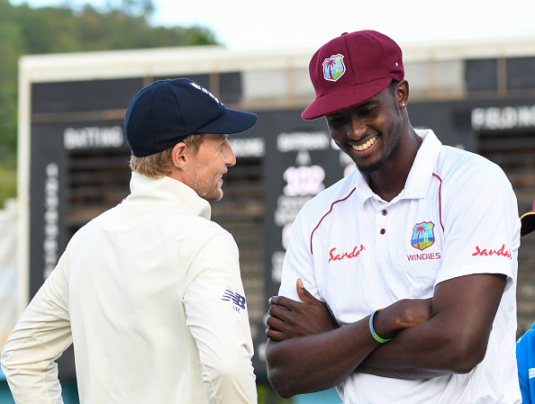West Indies in England 2020. Joe Root and Jason Holder talk.