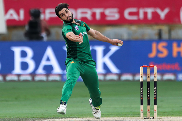 Usman Khan Shinwari bowls against Australia