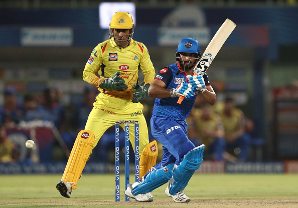 2021 Cricket World Cup Rishabh Pant bats in the Indian Premier League and MS Dhoni keeps wickets. DC vs CSK 2019 IPL
