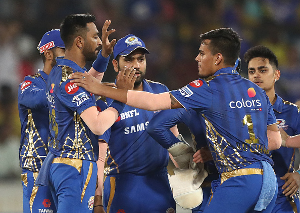 Mumbai Indians celebrate a wicket in IPL 2019