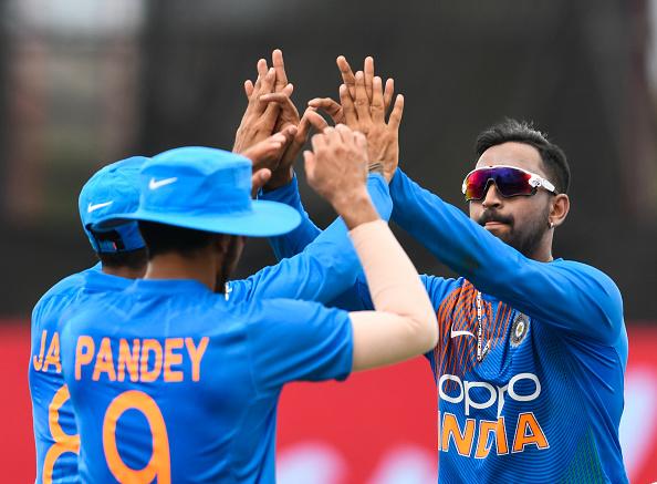 Krunal Pandya Ravindra Jadeja give a hi-5 in 2019 after dismissing Nicholas Pooran