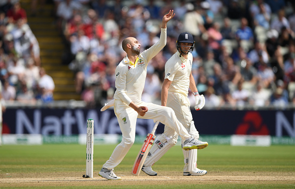 Nathan Lyon celebrates taking a wicket in the 2019 Ashes