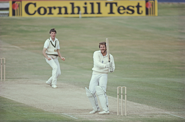 Sir Ian Botham smashes a six against Australia for England in the 1981 Ashes series