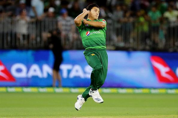 Musa Khan bowls against Australia 2019