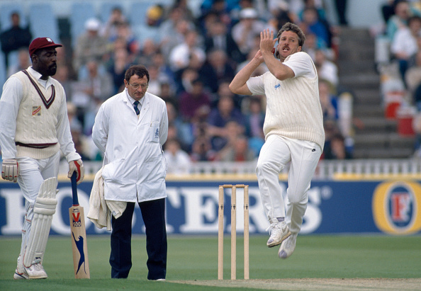 Ian Botham bowling for England vs West Indies 1991