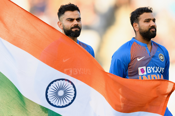 2020 Cricket World Cup India face New Zealand 2020. Virat Kohli and Rohit Sharma sing the national song.