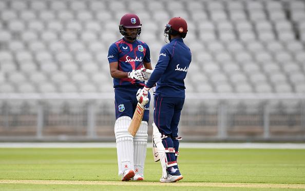 Brathwaite and Hope bat for the England v Windies preperation