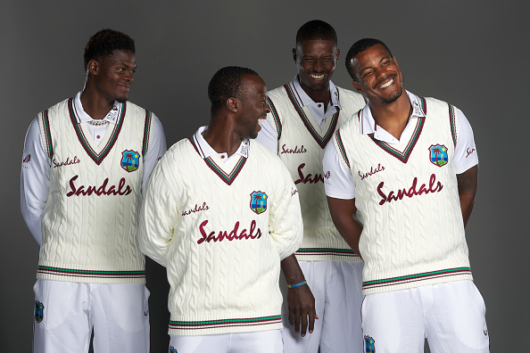 West Indies in England 2020. Players pose with their new jumpers.