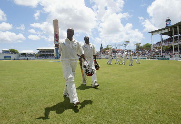 Brian Lara leaves the field after scoring 400 vs England for the Windies in 2004 at Antigua