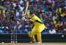 Shane Watson bats at the 2015 ICC World Cup Semi Final vs India