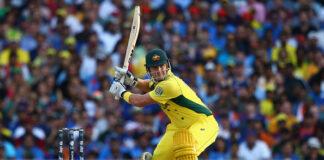 Shane Watson bats at the 2015 ICC World Cup Semi Final vs India