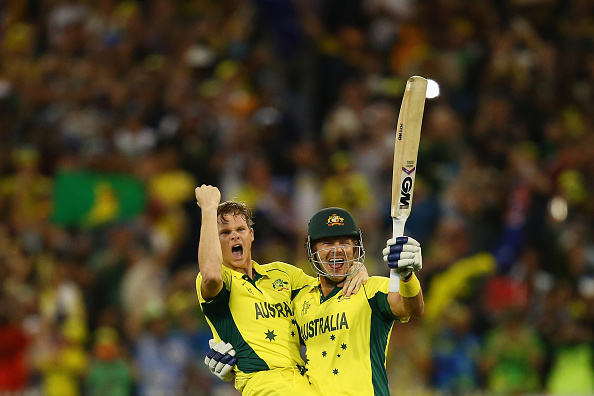 He and Steve Smith celebrate winning the 2015 World Cup for Australia