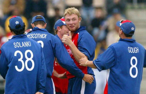 Andrew Flintoff celebrates a wicket during the 2004 Champions Trophy