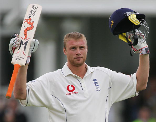 Freddie Flintoff scores a century in the 2005 Ashes