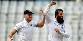 England celebrate a wicket against Bangladesh in a test match in Dhaka in 2016