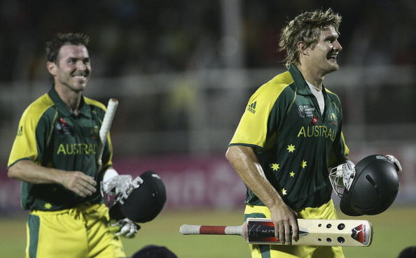Watson celebrates with Damien Martyn after winning the 2006 ICC Champions Trophy