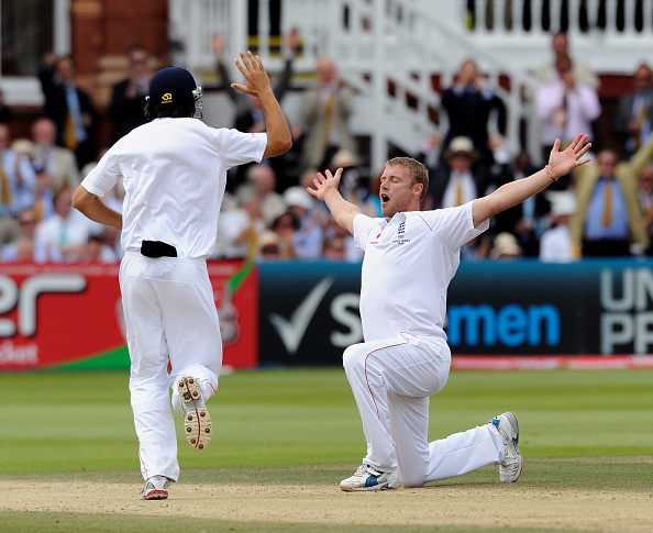 Freddie Flintoff celebrates picking up his 5th wicket at Lords in the 2009 Ashes