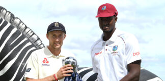 Joe Root and Jason Holder share the Wisden Trophy befrore the series starts. England v Windies