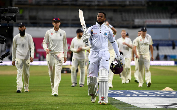 Shai Hope celebrates scoring a century for the West Indies vs England 2017