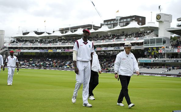Jason Holder bowls for the Windies v England in 2017 at Lords