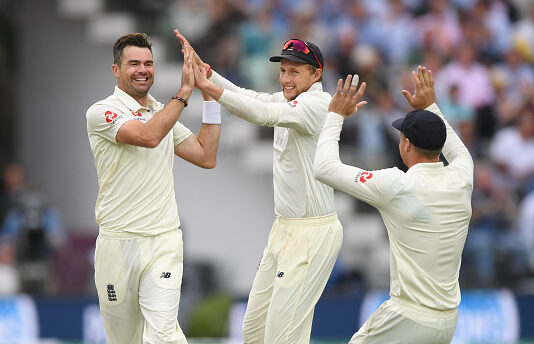 Jimmy Anderson bowls against India at Lords 2018 in the test match for England Cricket vs India
