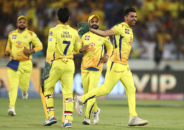 Bowling in the IPL final for CSK against MI at the Rajiv Gandhi Stadium 2019