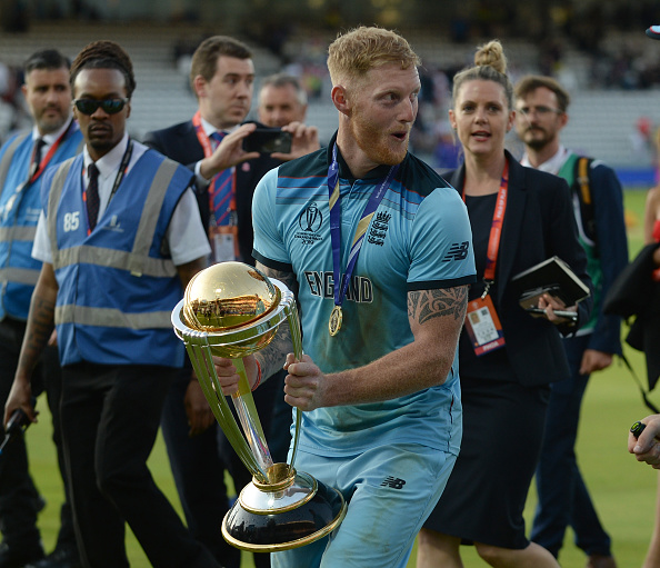 Ben Stokes lifting the ICC Cricket World Cup trophy in 2019 at Lords
