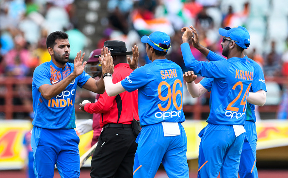 Deepak Chahar bowls for India against the West Indies in a T20I in 2019