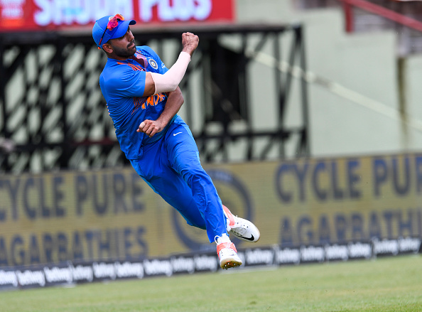 Chahar fielding against the West Indies in a T20 match 2019 for India Cricket